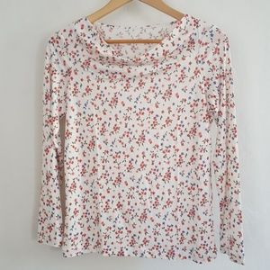 WinterSilks 100% Silk Floral Tee Shirt Long Sleeve